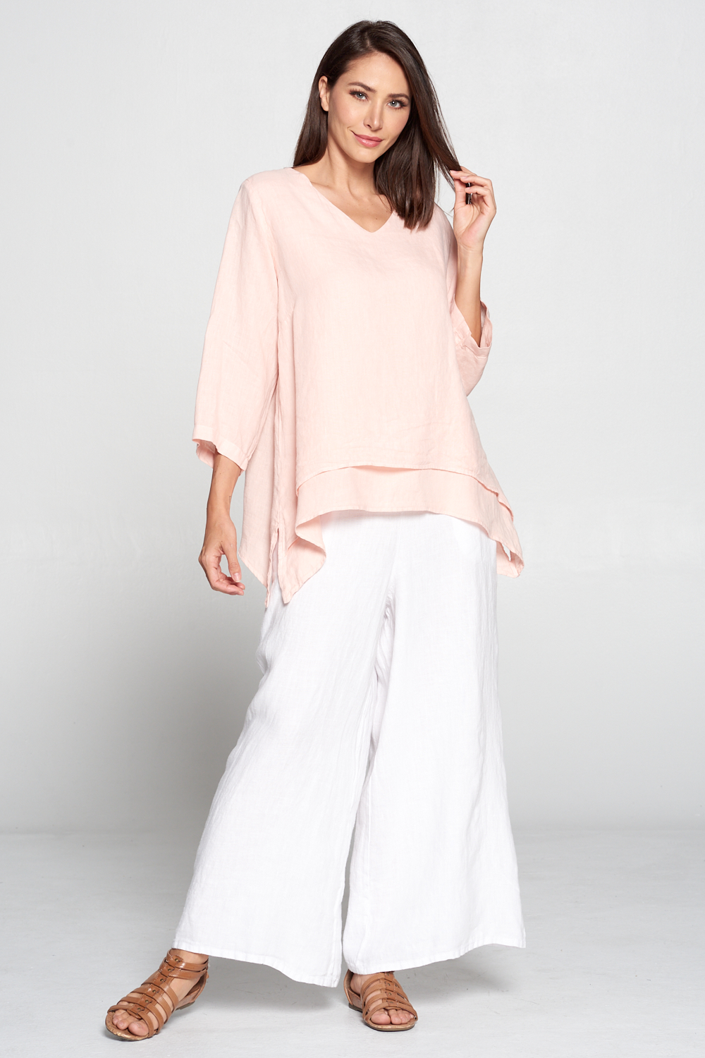 FBT95<br/>V-NECK DOUBLE LAYER TOP